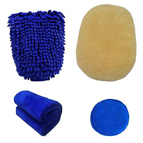 Autowaschhandschuh 4 in 1, Auto Waschhandschuh Handschuh Wasserdicht+ Microfasertuch Set +Wachs Applikator, Auto-Reinigungs-Kit für Autopflege und Reinigungsfahrzeug