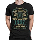 Buzz Shirts Life Begins At 21 Mens T-Shirt - Born In 1997 Year of Legends 21st Birthday Gift XL