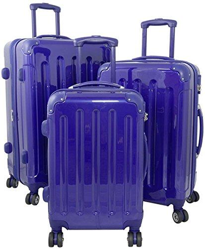 Polycarbonat Hartschalen Koffer Trolley Reisekoffer Reisetrolley Handgepäck Boardcase in einheitlicher Farbgestaltung - Nepal 3tlg. (Blau)