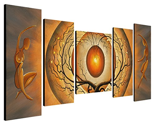 Wieco Art - Orange Trees Dancing Modern Abstract Giclee Canvas prints Artwork Paintings Reproduction Printed on Stretched and Framed Canvas Wall Art Ready to Hang for Living Room Bedroom Decoration