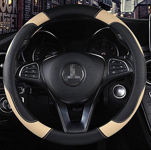 Istn Herren Sport-Lenkradbezug, rutschfest, atmungsaktiv, PU-Kunstleder, 38 cm, Beige (2010 Car Cover Mustang)