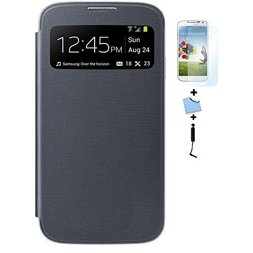 Galleria fotografica Aeontop Custodia Flip Cover per Samsung Galaxy S4 SIV I9500 con View Finestra e Coperchio della Batteria+ Pellicola Protettiva + Stylus, Color: Nero