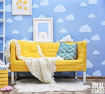 Wolke Kinderzimmer Schablone Heim Wand Dekoration U0026 Handwerk Schablone  Wolke Himmel Thema Wand Dekoration Wandfarbe Stoffe U0026 Möbel 190 Mylar ...
