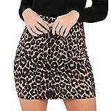 YEBIRAL Damen Röcke Leopard bedruckter Hohe Taille Sexy Figurbetont Minirock Beiläufiges Heißer Retro Frauen Unterkleid Skater Röcke(M,Braun)