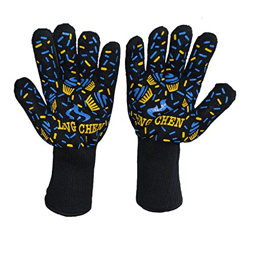 Resistente al calor guantes,Cocina barbacoa guantes EN407 Certificado resistente al fuego gloves-use...