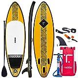 redder Paddle Planches Gonflable Surf Rouge 9' Stand Up Paddle Board Gonflable avec Pagaie Carbone/Fibre de Verre, Sac à Dos, Pompe, Leash et Kit de Réparation