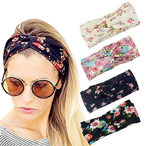 DRESHOW 4 Stück Damen Elastische Blume Gedruckt Stirnbänder 1950 Archaistisch Frauen Baumwolle Gestrickte Verdrehte Weiche Turban Kopf Verpackungs