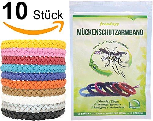 freedayy Mückenschutz-Armband (10 Stück) Anti Mücken-Armband mit 100{c0b763280cc998b67e64e5331e2681f9fa9cb750a4dfbd80be954b475e51eeaa} natürlichen Aromen für Kinder und Erwachsene