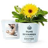 Blumentopf (ø16cm) | Geschenk zum ersten Vatertag mit Rahmen für zwei Baby Fotos (10x15cm) | Ruhe bewahren es ist Papas Erster Vatertag