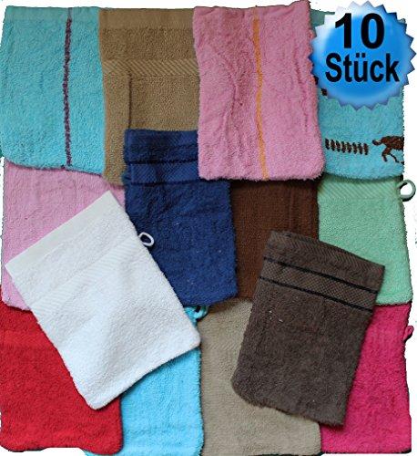 Unbekannt 10 pièces Gant de lavage Frot, überwiegend Uni/Unicolore, env. 15 x 21 cm, gant de toilette, éponge, 100% coton, 100% coton, Sortiert-2, 15x21