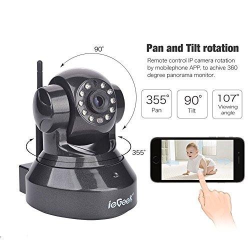 ieGeek Cámara de Seguridad inalámbrica WiFi,720P cámara IP con Audio bidireccional,Visión nocturna,ranura de tarjeta de memoria,Cámara de vigilancia para bebés,ancianos,mascotas,oficina, Negro