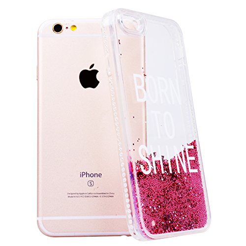 "WE LOVE CASE iPhone 6 / 6s Hülle Glitzern Trasparent Diamant Flüssig Quicksand Liebe Perle Weicher Rand iPhone 6 / 6s 4,7"" Hülle Rosa Schutzhülle Handyhülle Handytasche Handycover PC Harte Case Anti-S born to shine"