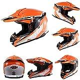 NOMEN Double Sport VTT Tout-Terrain Moto ECE & Dot Casque de Moto Tout-Terrain MX Casque de sécurité Alpin Blanc Orange,L