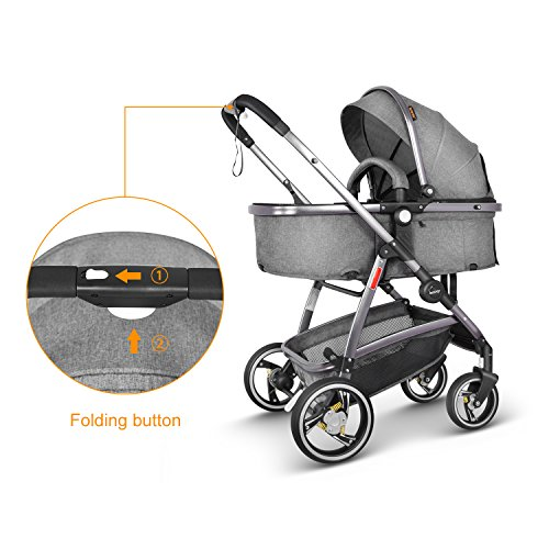 Besrey Baby Pram Pushchair Stroller 2 in 1, Luxury Sit and Sleep Stroller for Baby and Infant, with Rain Cover, Grey  besrey