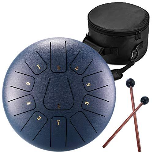 Handpan Zungentrommel 11 Noten 10 Zoll Chakra Tank Drum Stahl Percussion Hang Drum Instrument mit gepolsterter Reisetasche und Schlägel cyan