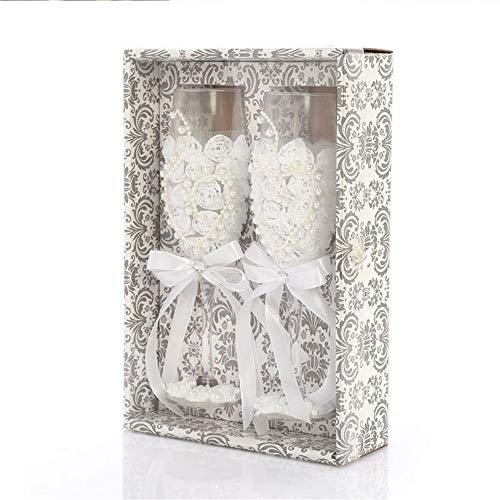 LABAICAI 2 Stücke Set Hochzeit Glas Mode Toasten Hochzeit Gläser Kristall Champagner Flöten Für Braut Und Bräutigam Trinken Weinglas Für (Color : A)
