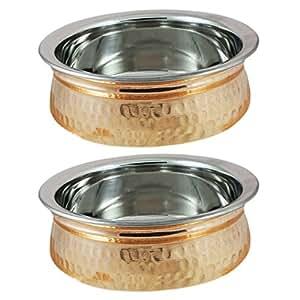 ensemble de 2, grande portion bol soupière cuivre seveware vaisselle accessoires inox, diamètre 11 cm