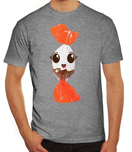 Fasching Verkleidung T-Shirt Gruppen & Paar Kostüm Schoko BonBon Kostüm, Größe: XL,Graumeliert (Halloween Kostüme Ideen Für Gruppen)