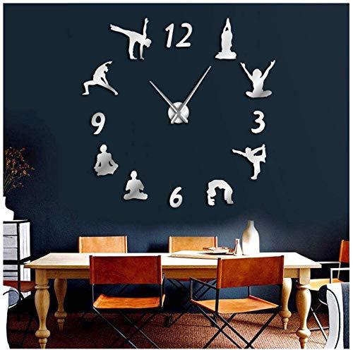 Wangchengo Reloj de Pared Grande de Yoga Efecto Espejo Sala de Estar DIY Reloj de Pared meditación...