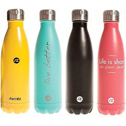 Botella de agua Hydra Sternitz en Acero Inoxidable con aislamiento al vacio. Mantiene tus bebidas frías por 24 horas y calientes por 12 horas. Con práctico y elegante forro para guardar en casa. Water Bottle
