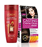 #4: L'Oreal Paris Casting Creme Gloss Hair Color, Dark Brown 400, 87.5g+72ml with Free Color Protect Shampoo, 175ml