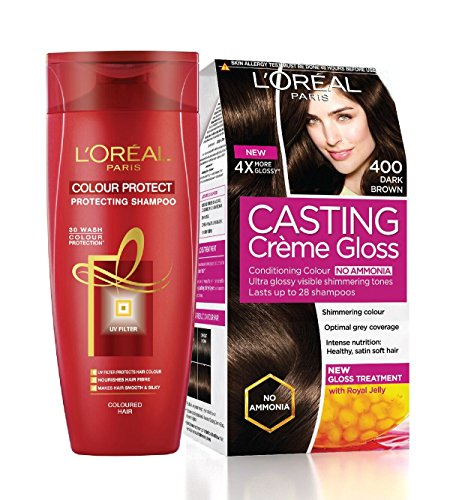 L'Oreal Paris Casting Creme Gloss Hair Color, Dark Brown 400, 87.5g+72ml with Free Color Protect Shampoo, 175ml