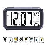 Batteriebetriebener LED mit extra großem Display Digital-Wecker Snooze, Datumsanzeige, Temperatur in schwarz