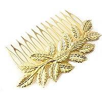 honeysuck Niñas Joyería única horquilla hojas Golden pelo peine Clip