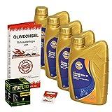 Gulf 10W-40 Öl + HiFlo Ölfilter für Yamaha XVS 950 Midnight Star, 09-15, VN02 - Ölwechselset inkl. Motoröl, Chrom Filter, Dichtring