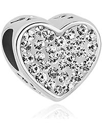Uniqueen New Heart I Love You Pendentifs Piercing à la pierre de Birthstone Vente de perles bon marché à Pandora Charm Bracelet Cadeaux