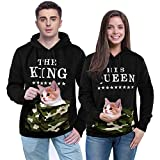 Wangyue King Queen Matching Couple Pullover Hoodie Set Valentine's Day Gift His & Hers Hoodies