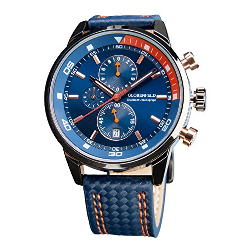Globenfeld-Daytimer-Mens-Chronograph-Sports-Watch-Blue-3-Function-Analog-Display-with-Stopwatch-and-Tachymeter-Genuine-Leather-Strap-Scratch-Resistant-Glass-Platinum-5-Year-Warranty