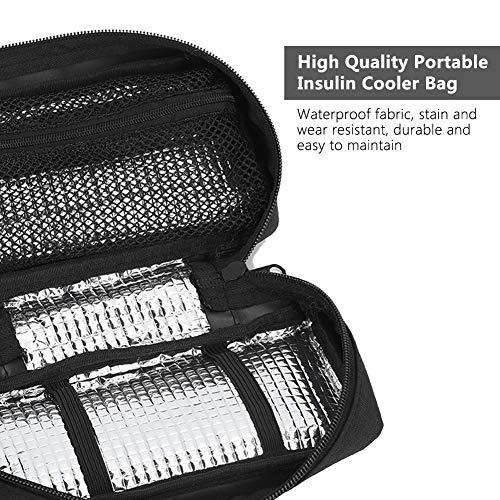 51dESWsr29L - Bolso del refrigerador de la insulina, caja de enfriamiento de la bolsa del organizador médico portátil del protector del aislamiento(Negro)