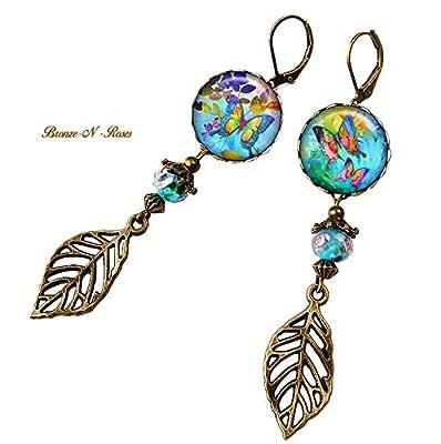Boucles d'oreilles * Papillon magique * cabochon bleu bronze perles verre