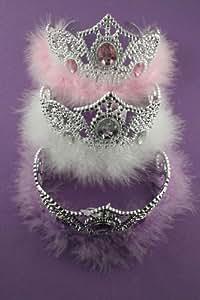 Couronne de princesse couleur Argent - ornée de cristaux roses en forme de diamants et garniture de plumes