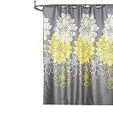 Daesar Polyester-Stoff Duschvorhang Anti-Schimmel Pfingstrose Blume 3D Duschvorhang Polyester-Stoff Vintage 220x200 cm