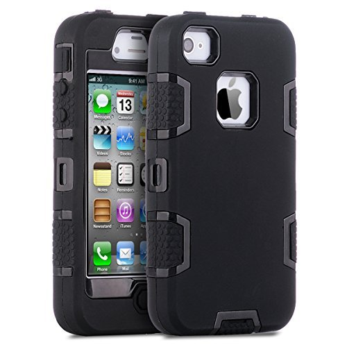 ne 4s Fall, Ulak Knox Armor stoßfest Heavy Duty Combo Hybrid Defender High Impact Körper Rugged Hard PC & Silikon Case Schutzhülle für Apple iPhone 4 4S, schwarz/schwarz ()