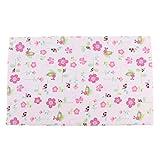 MagiDeal Bambus Baumwolle Wickeltischauflage Stoff Wickelauflage Waschbar Wickelunterlage 80 x 70 cm - rosa Blume, 80 x 70 cm