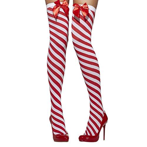 Smiffys 42780 - Undurchsichtige Stockungen Striped mit Bögen, rot/weiß