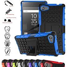 Z5 Compact Funda,Mama Mouth Heavy Duty silicona híbrida con soporte Cáscara de Cubierta Protectora de Doble Capa Funda Caso para Sony Xperia Z5 Compact,Azul