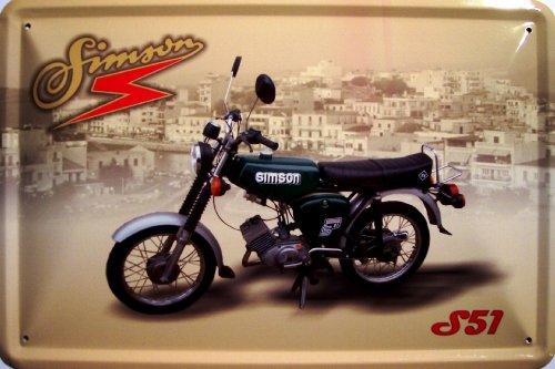 Preisvergleich Produktbild Simson S 51 grün Motorrad DDR Blechschild Schild Blech Metall Metal Tin Sign 20 x 30 cm