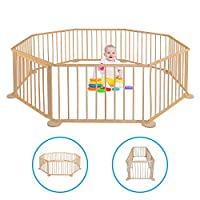 Baby playpen - Made of Wood - Foldable - Playpen Gate - Mobile baby playpen wooden - Barrier for Indoors - Play area - Pen - Fence - Foldable - Large