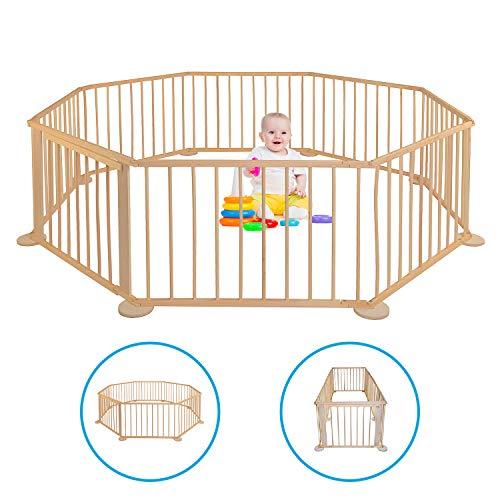 Baby Laufgitter - Aus Holz - Faltbar - Mobiler Laufstall - Kinderzaun XXL - Absperrgitter für drinnen - Gehschule für Garten - Klappbar - Eckig - Groß