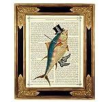 Tanzender Fisch Zylinderhut Poster Steampunk Kunstdruck auf viktorianischer Buchseite Kinderzimmer Deko Geschenk Bild ungerahmt