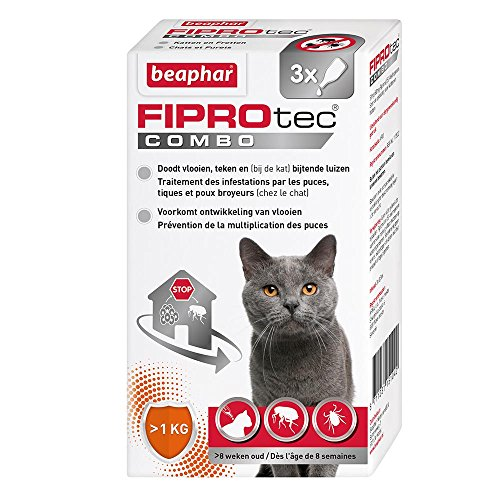 Beaphar - FIPROtec Combo, pipettes anti-puces et anti-tiques - chat - 3 pipettes