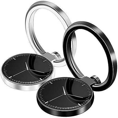 2 Pack Handy Ring Ständer, FineGood 360 ° Universal Magnetic Car Mount Smartphone Griff Halter für iPhone 7 Plus 6 6S 5 5C 5S, Samsung Galaxy S8 S7 Edge, Tablet - Schwarz und