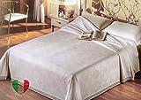 SpazioTessile Coperta Copriletto Broccato 100% Cotone 6 Colori 260 Gr mq Singolo, Piazza e Mezza, Matrimoniale (Bianco, Matrimoniale 270x250)