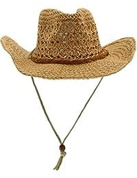 Eozy Women Men Hollow Sun Straw Hats Adjustable Beach UV Cowboy Caps