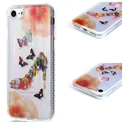 """MOONCASE iPhone 7 Coque, Brushed Glitter Sparkle Bling Coloré Motif Étui Coque pour iPhone 7 4.7"""" Soft TPU Gel Souple Case Housse de Protection Butterfly High Heels"""