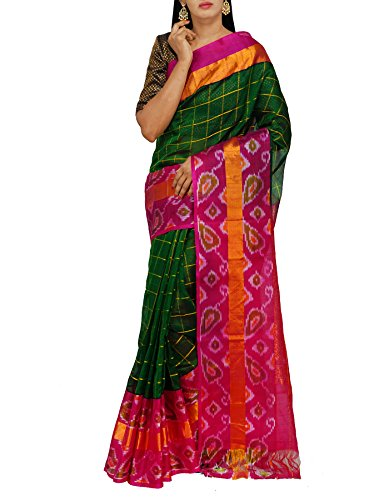 Unnati Silks Women Green Handloom Pochampally Ikat Kuppadam Silk Cotton Pattu Saree...